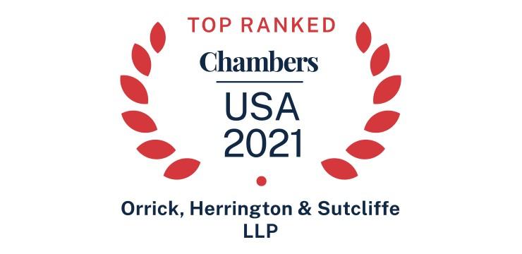 Orrick Top Ranked Chambers USA 2021