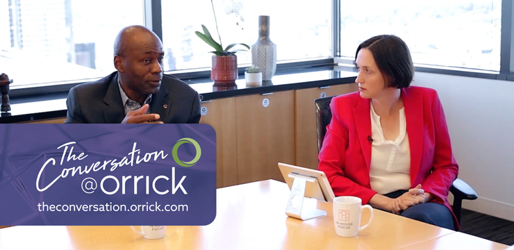 video still of Gary Eppinger and Carolyn Frantz  discussing updating board members about cybersecurity