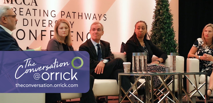 video still of Orrick Chairman Mitch Zuklie explaining the firm's goal surrounding improving the diversity and inclusiveness of our client teams as we grow client relationships