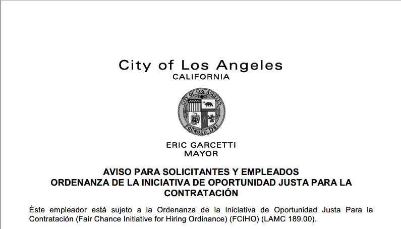 Los Angeles Fair Chance Initiative Ordinance