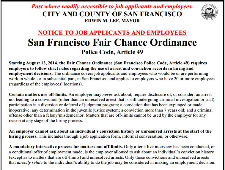 San Francisco Fair Chance Ordinance
