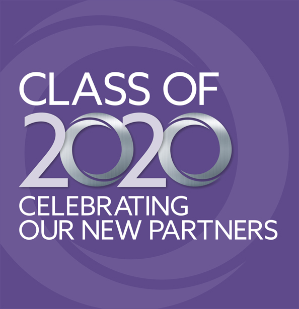 purple background with text: Class of 2020 Celebrating Our New Partners