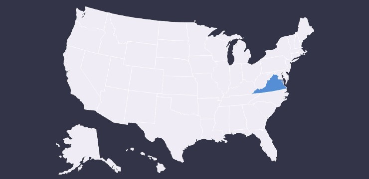 United States map with Virginia highlighted