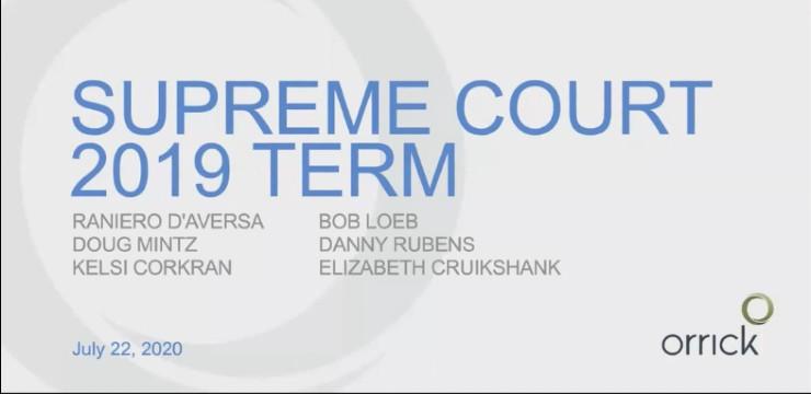 cover slide for Supreme Court 2019 Term webinar