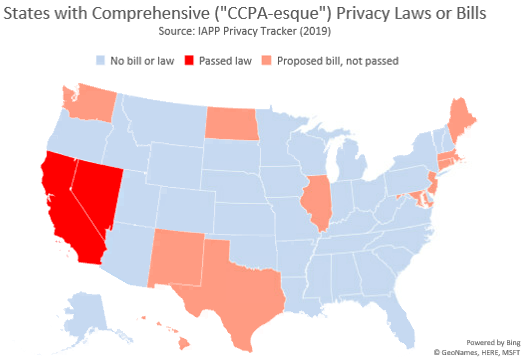 Figure 1: States with Comprehensive Privacy Laws and Bills