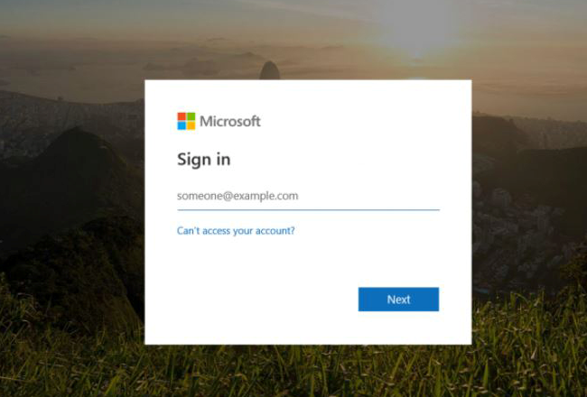 screenshot of Microsoft sign-in form