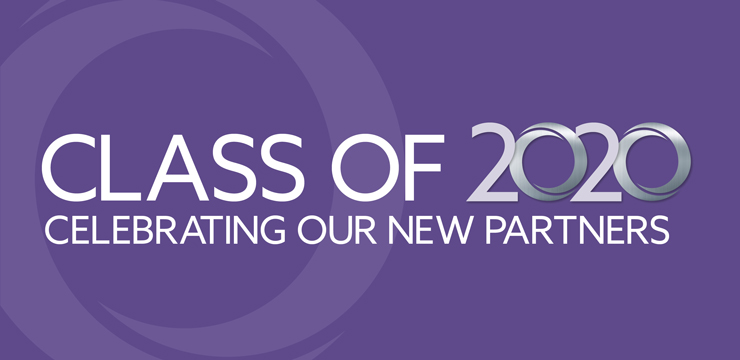 text on purple background: Class of 2020 Celebrating Our New Partners
