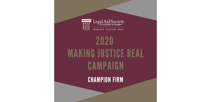 graphic recognizing Champion Form for 2020 Making Justice Real Campaign