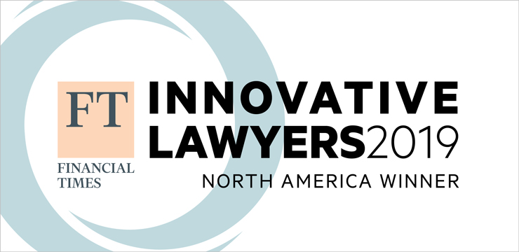 graphic with Financial Times logo, recognizing Orrick as Innovative Lawyers 2019 North America Winner