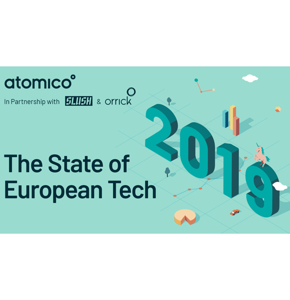 graphic promoting The State of European Tech 2019 | Atomico In Partnership with Slush and Orrick