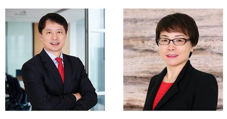 photos of Orrick partners Xiang Wang and Sarah Zeng