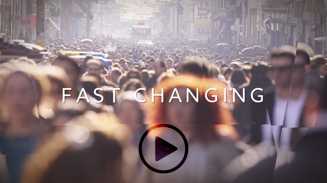 "text ""Fast Changing"" superimposed over photo of crowd"
