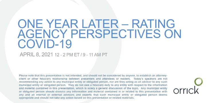 Webinar: One year later – Rating agency perspectives on COVID-19
