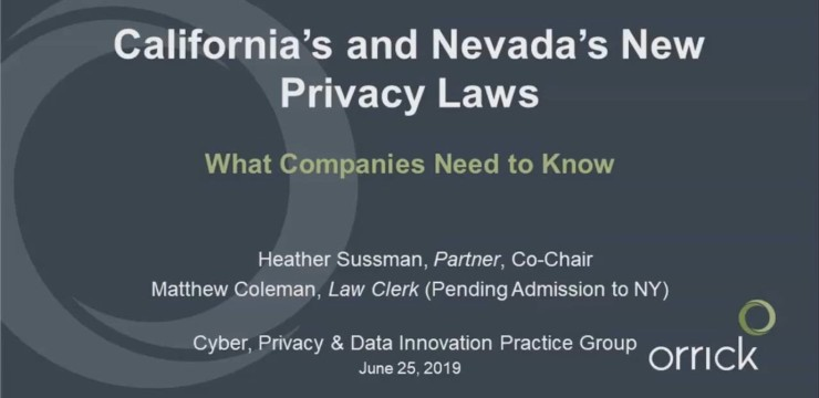 Webinar: California's and Nevada's New Privacy Laws