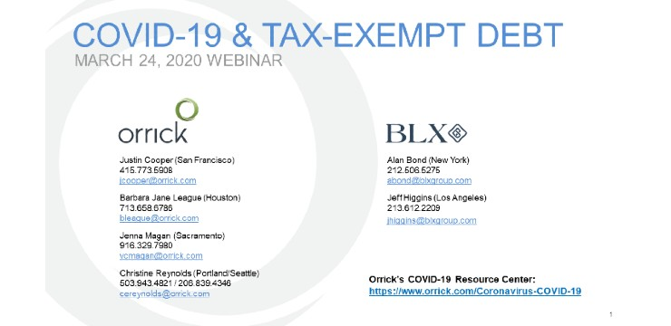 Webinar: COVID-19 & Tax Exempt Debt