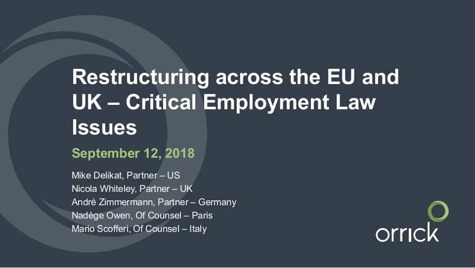 Orrick Webinar: Restructuring across the EU and UK – Critical Employment Law Issues
