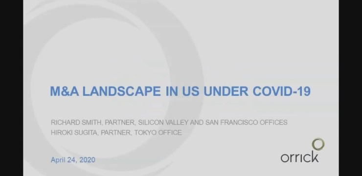video still of webinar: M&A Landscape in U.S. under COVID-19